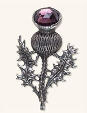 Victorian Trading Co Thistle Burr Brooch Pin Scottish Highlands Amethyst Stone