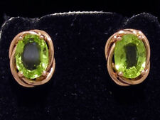 E063 Genuine 9ct Solid Rose Gold NATURAL Peridot Stud Earrings large 7x5mm each