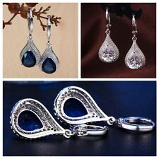 Wedding Jewelry White Gold Filled Tear Drop Dangle Earring Hoop Zircon Crystal
