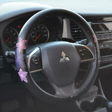 Beautiful Purple Flower Design Comfy PU Leather Odorless Steering Wheel Cover