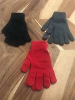 Women's Mossimo Tech Acrylic Gloves OSFM - NWT - Lot Of 3 - Red, Grey, and Black