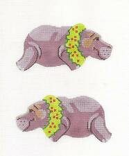 SP.ORDER ~ Purple Hippo HP Needlepoint Canvas Ornament w/ Clipon Labors of Love