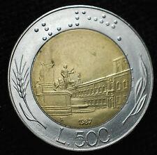 1987  Repubblica Italiana   500   lire  bimetalliche   Firma Piccola