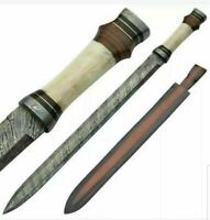 "BEAUTIFUL CUSTOM HANDMADE DAMASCUS STEEL 30"" INCHES HUNTING SWORD WITH SHEATH"