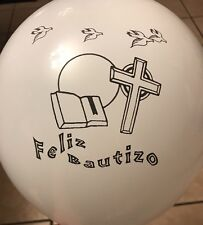 "Feliz Bautizo/Baptism Spanish White Latex 12"" Balloons For Party Supplies"