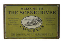16'L Welcome to the Scenic River Canoeing Advertisement Tin Sign Nautical Wall