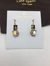 $48 Kate Spade Rise & Shine Gold Tone Drop Earrings Pink Stone #A1