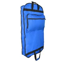 "39"" Business Garment Bag Cover Suits Dresses Clothing Foldable Pockets Blue"