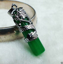 Chinese Green Jade Dragon Lucky necklace pendant Feng Shui silver UK