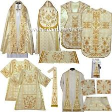 Gold Solemn High Mass Vestment Set Fiddleback,Dalmatic,Tunicle,Cope,Humeral Lot