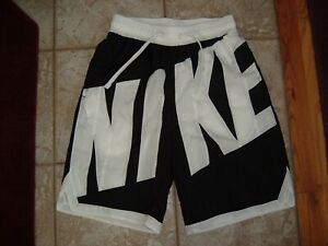 Nike Swim Trunks Big Logo Spell Out Swoosh Mens Sz S Board Shorts Black & White