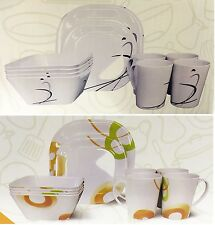 16 Piece Camping Caravan Picnic Plates Cups Bowls Melamine Plastic Dinner Set