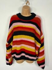 BNWT WOMENS QED LONDON MULTICOLOUR STRIPED KNITTED CASUAL JUMPER PULL OVER LARGE
