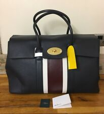 MULBERRY Piccadilly Midnight, White & Burgundy Small Classic Grain Bag RRP £1495