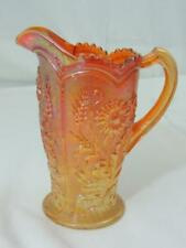 Vintage Imperial Marigold Carnival Glass FIELD FLOWER Pitcher