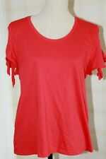 J. CREW Red 100% Cotton Tie Short Sleeve Cold Shoulder T Shirt L