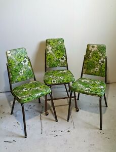 three vintage green floral mid century modern dining chairs vinyl
