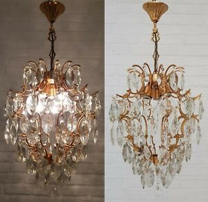 Matching Pair of Antique Vintage Brass & Crystals Cage Style Chandeliers Lamp