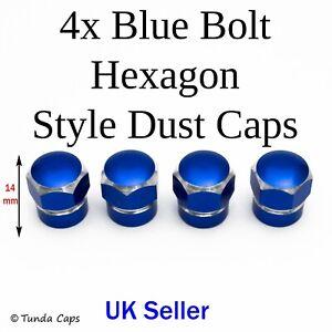 4x Blue Chunky Hexagon Quality Valve Stem Dust Caps Car BMX Van Motorbike Wheel