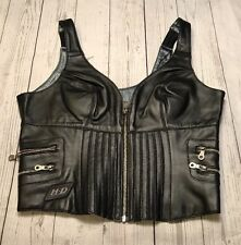 Harley Davidson Black Leather Bustier Zip up Tank Crop Top Vest 38/10 W