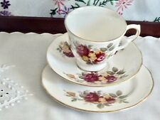 GORGEOUS VINTAGE BONE CHINA 'ROYAL VALE'  TRIO MADE IN ENGLAND NUMBERED.