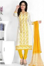 Radiant Yellow Cotton Embroidered Salwar Suit Dress Material D.NO NKT1188