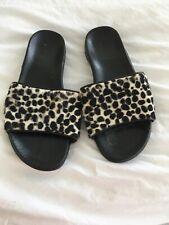 Black leopard skin leather sliders Size 3 (36)