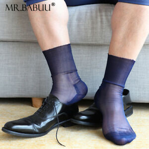 NEW 3Pairs Pack Men's Short Solid Chilon Super Thin Silky Sheer Dress Socks 0118