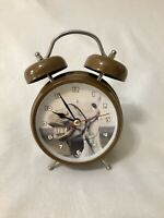 Table Alarm Clock Brown Horse Small Metal Clock Works Alarm Non-Working