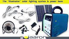 Portable Solaaron Solar Light & Power Bank Generator Full Set w/Fan