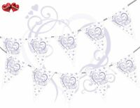 On Your Wedding Day Heart Lilac Bunting Banner 15 flags Simply Stylish Touch UK
