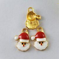20pcs Gold Enamel Xmas Santa Claus Alloy Pendants Charms Crafts Findings 51775