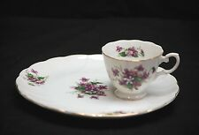 Vintage Purple Flowers Snack Plate & Tea Cup China Set Gold Trim Swirl Pattern