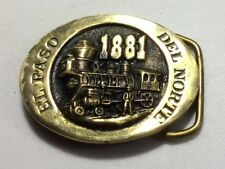 Solid Brass El Paso Del Norte 1881 Belt Buckle Heritage Mint Railroad Train