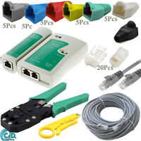 30M Ethernet Network Cat5e Patch Cable Tester Connectors Boots Crimping Tool Kit