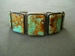 KIRK SMITH Native American Number 8 Turquoise Sterling Silver Bracelet