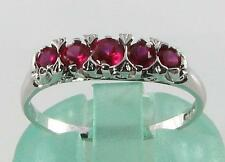 CLASSIC 9K 9CT WHITE GOLD INDIAN RUBY ETERNITY ART DECO INS RING FREE RESIZE