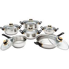 12 IN ACCIAIO INOX UTENSILE DA CUCINA Saucepan Pan Pot battenti frypan Cottura Coperchio in vetro set