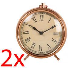 2 X 20CM COPPER ALARM CLOCK DESK MANTEL BEDROOM DECORATION BEDSIDE FREESTANDING