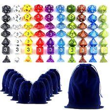 10 Sets 70 Polyhedral Dragons Dice RPG Game D4 D6 D8 D10 D12 D20 & 11 Bags