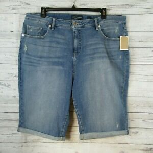 LUCKY BRAND Distressed Jean Shorts Ginger Bermuda SIZE 24W Stretch NEW $60 Blue