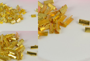 50 Gold Tone Ribbon Ends / Clasps 10 - 20mm, by 7mm Findings Terminators