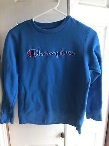 Kids Champion Royal Blue Logo Spellout L/S Crewneck Pullover RARE Size Medium M