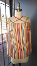 *CACHAREL* Silk Chiffon Striped Primary Color Long Sleeve Blouse Cold Shldr 36 4