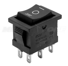 1pc Dpdt Mini Rocker Switch On Off On Black Button Kcd1 6a250vac Usa Seller