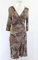 Joseph Ribkoff Black Brown Paisley Leopard Print Ruched Dress Size 10 V Neck