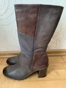 MJUS Women's Brown Gray Boots Patchwork Leather  Suede Shoes Size US 10 EU 42