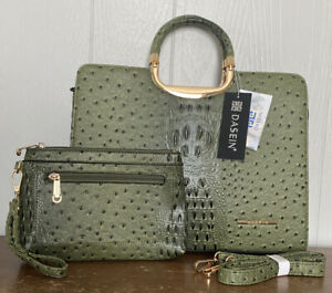 DASEIN Ostrich Faux Leather Purse Handbag Tote & Clutch Set - Army Green - NWT