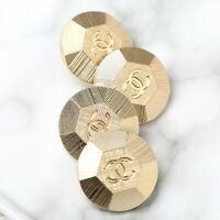 Chanel Buttons 4pc CC Gold 20mm Vintage Style 4 Buttons unstamped AUTH!!!