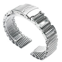 20/22/24mm Black/Silver Stainless Steel Watch Band Strap Shark Mesh Solid Links